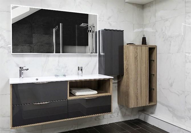 Salle de bain-pyram-futura acrylique-anthracite métallisé mélaminé chene bardolino gris